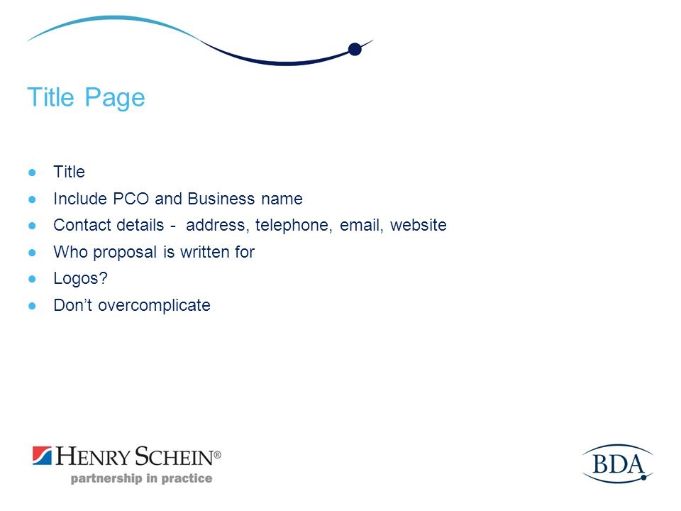 Title Page Title Include PCO and Business name
