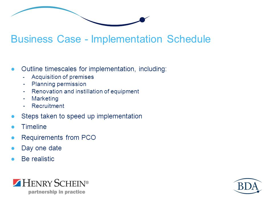 Business Case - Implementation Schedule