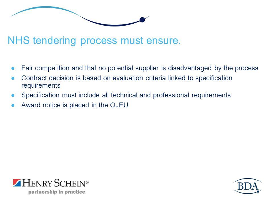 NHS tendering process must ensure.