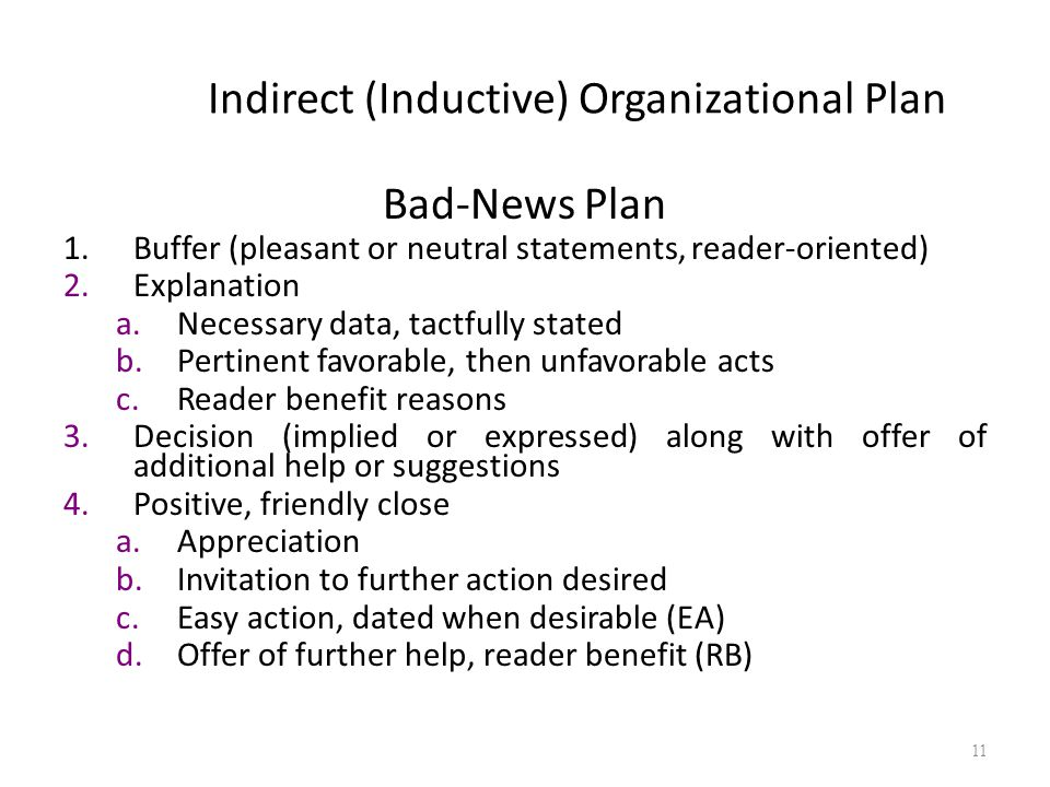Indirect (Inductive) Organizational Plan