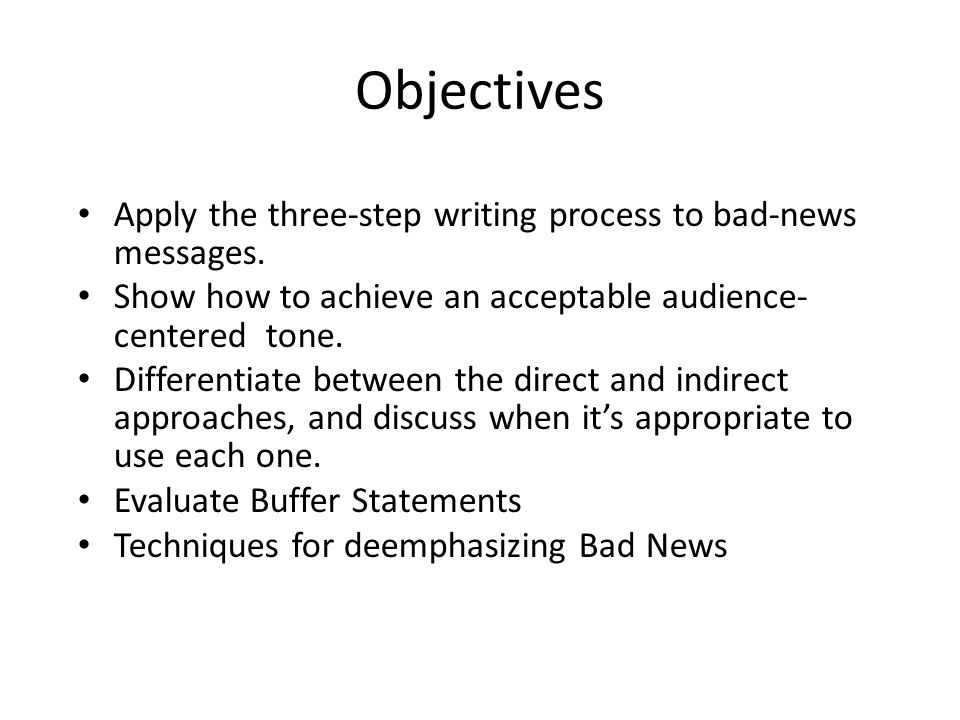 Objectives Apply the three-step writing process to bad-news messages.