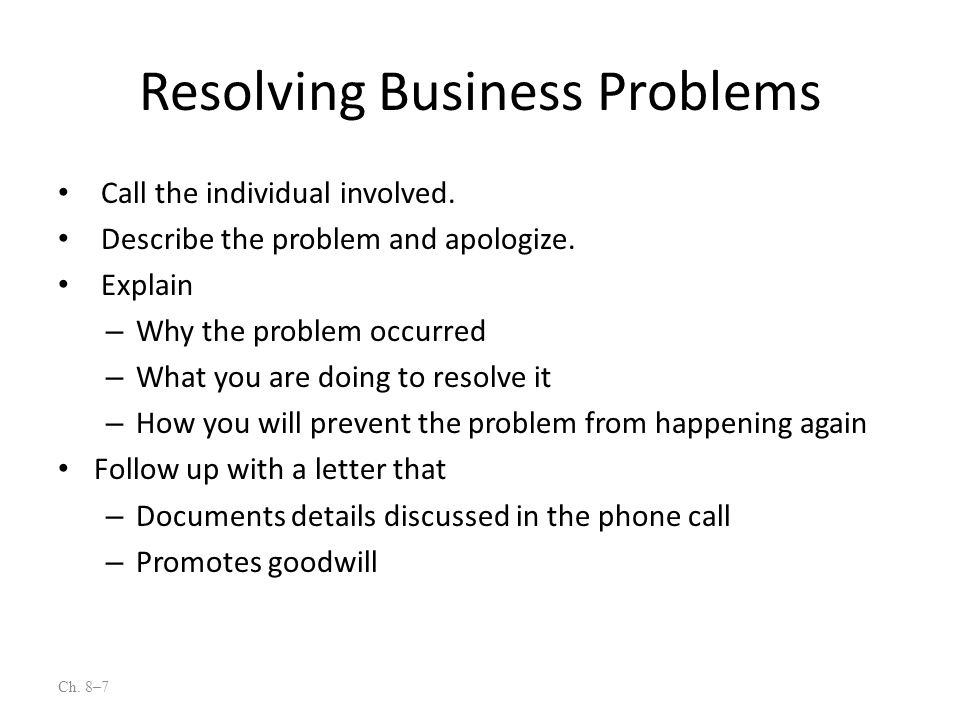 Resolving Business Problems