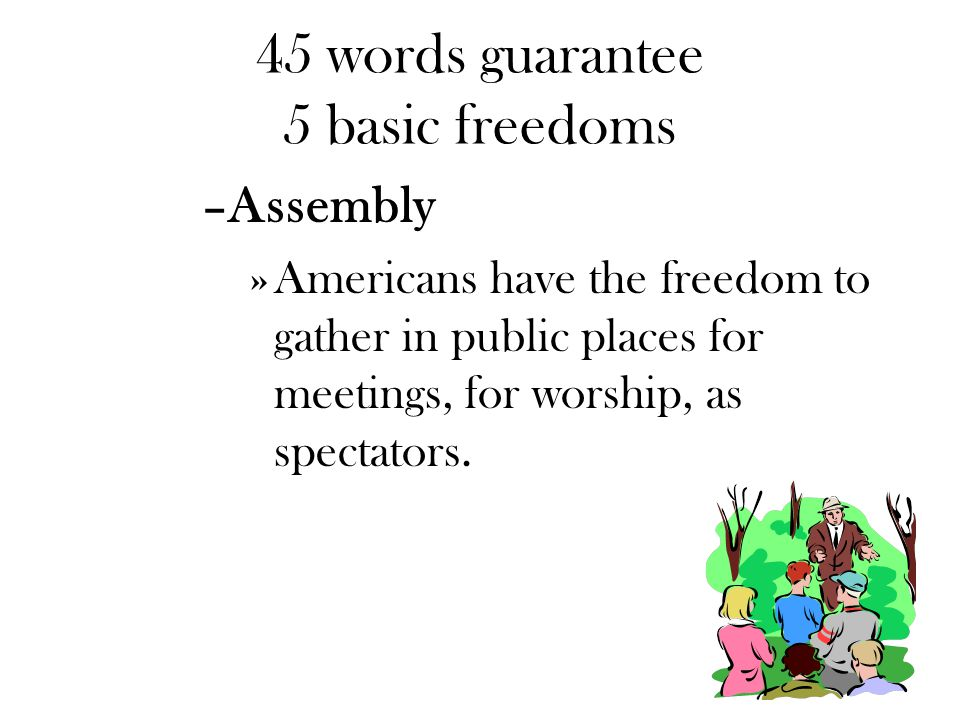 45 words guarantee 5 basic freedoms