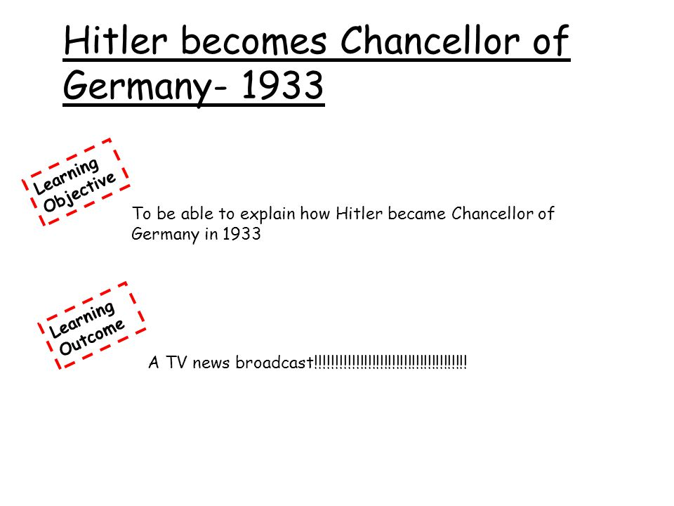 Hitler becomes Chancellor of Germany- 1933