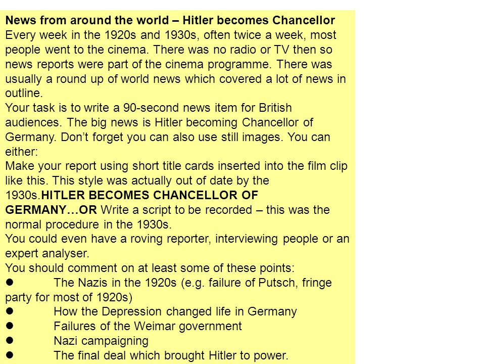 News from around the world – Hitler becomes Chancellor