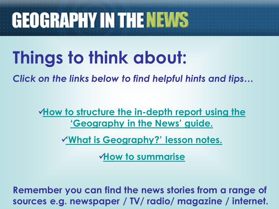 'What is Geography ' lesson notes.