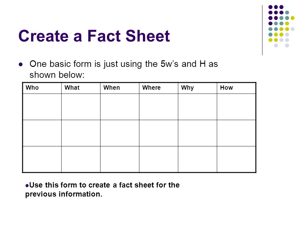 Create a Fact Sheet One basic form is just using the 5w's and H as shown below: Who. What. When.