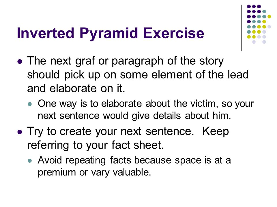 Inverted Pyramid Exercise