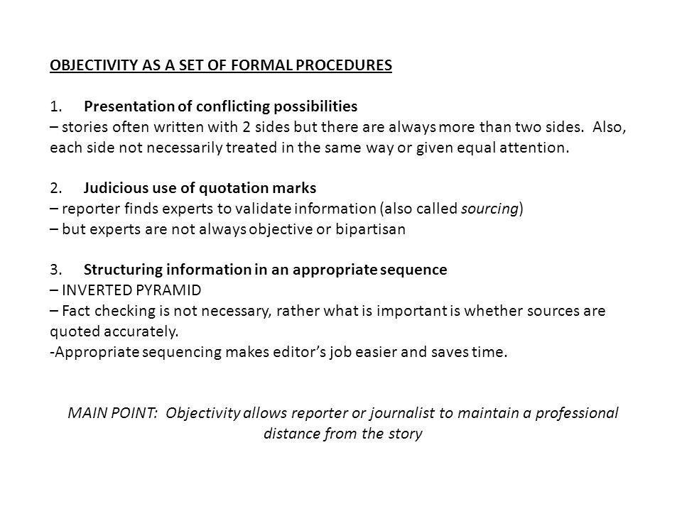 OBJECTIVITY AS A SET OF FORMAL PROCEDURES
