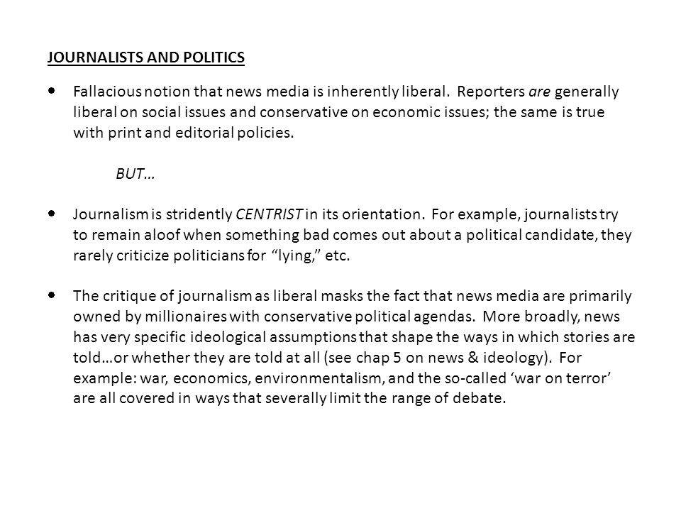 JOURNALISTS AND POLITICS
