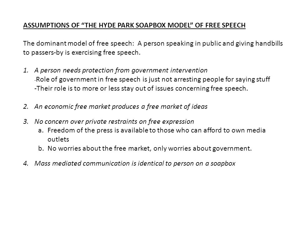 ASSUMPTIONS OF THE HYDE PARK SOAPBOX MODEL OF FREE SPEECH