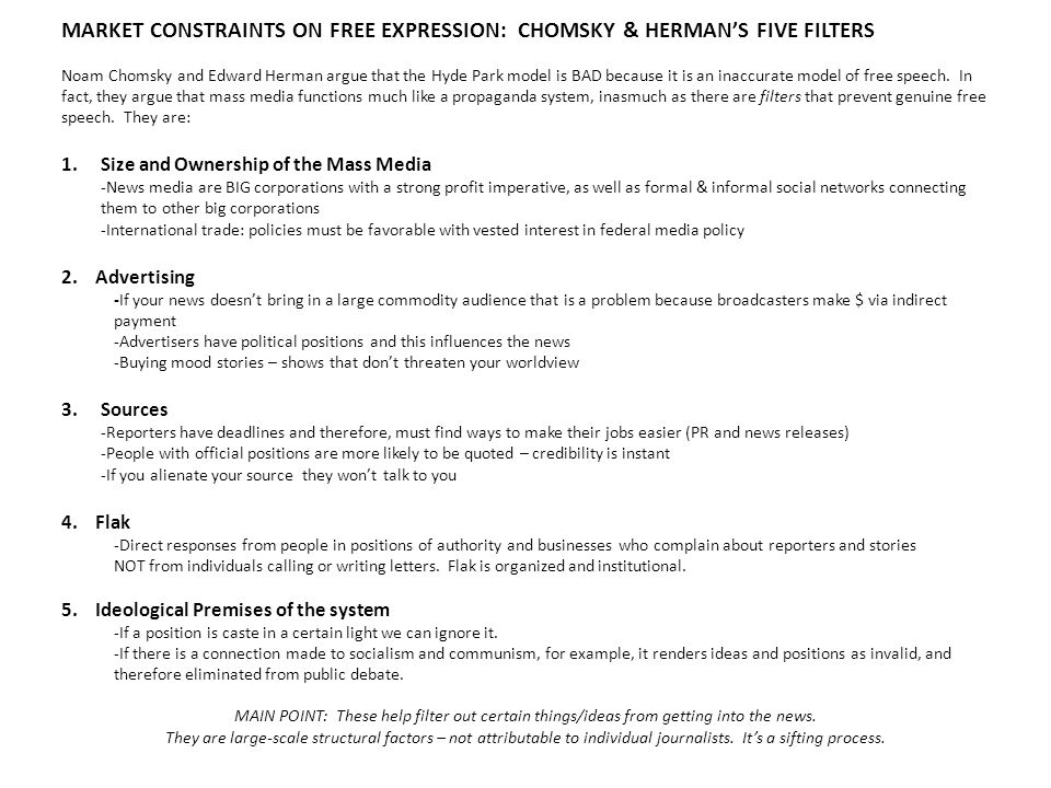 MARKET CONSTRAINTS ON FREE EXPRESSION: CHOMSKY & HERMAN'S FIVE FILTERS