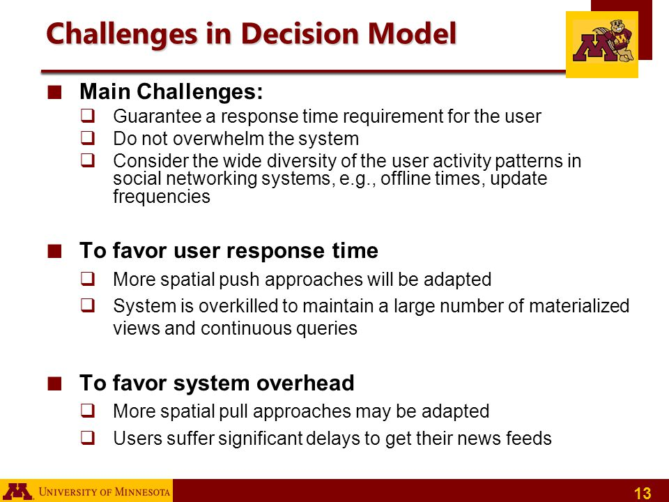 Challenges in Decision Model