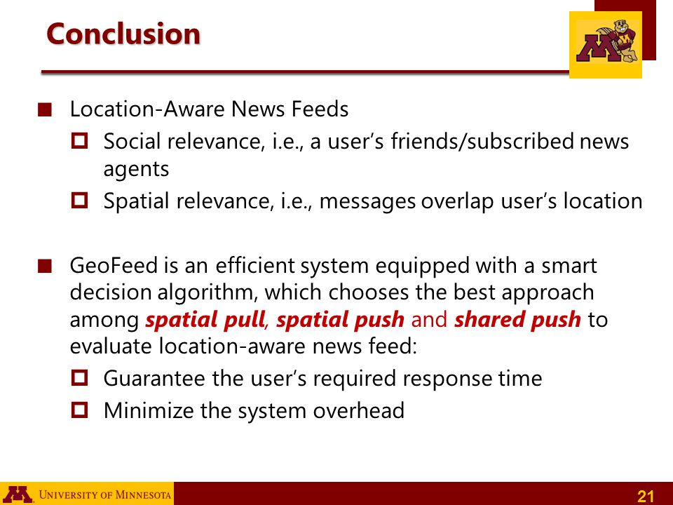 Conclusion Location-Aware News Feeds