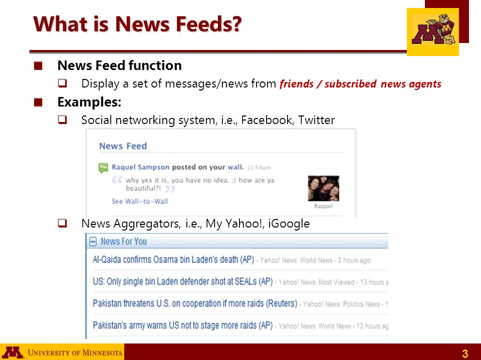 What is News Feeds News Feed function Examples:
