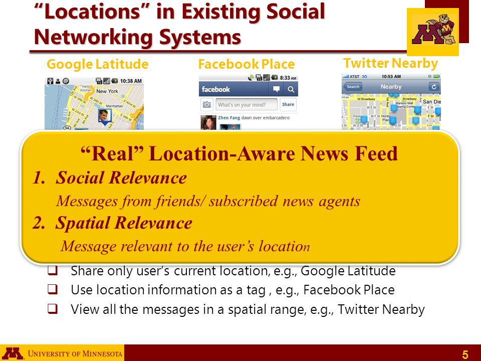 Locations in Existing Social Networking Systems