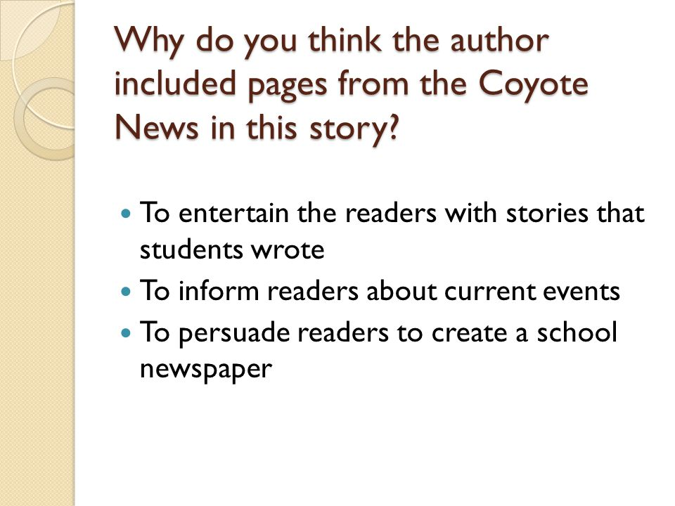 Why do you think the author included pages from the Coyote News in this story
