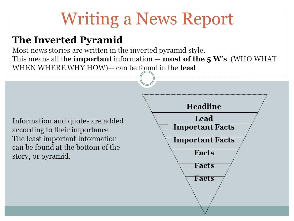 Writing a News Report The Inverted Pyramid