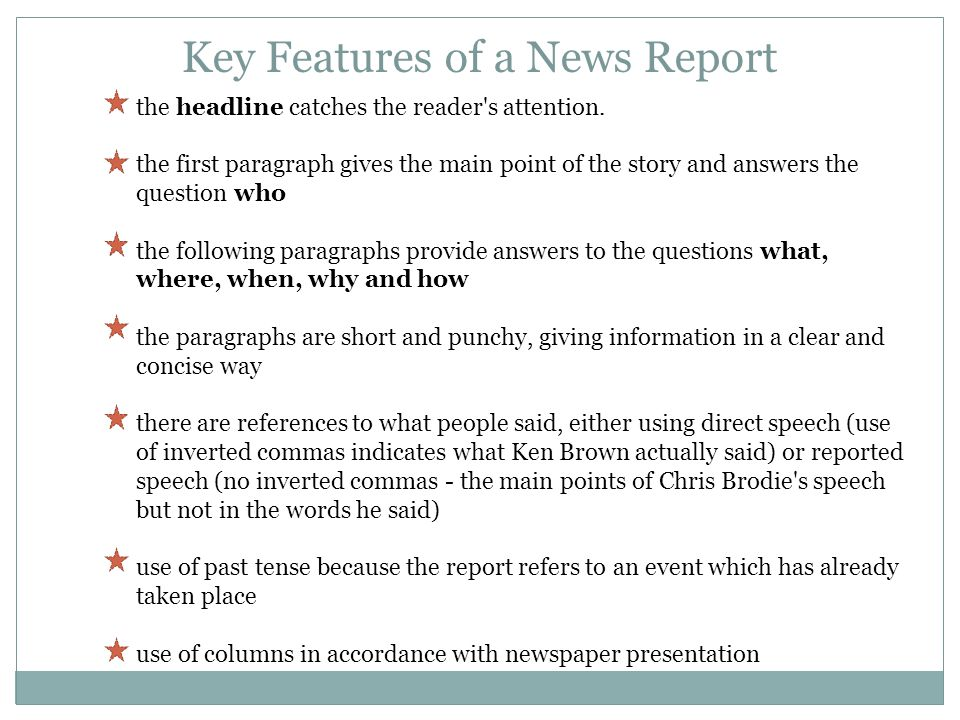 Key Features of a News Report
