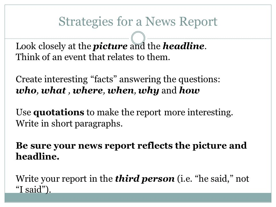 how to right a news report
