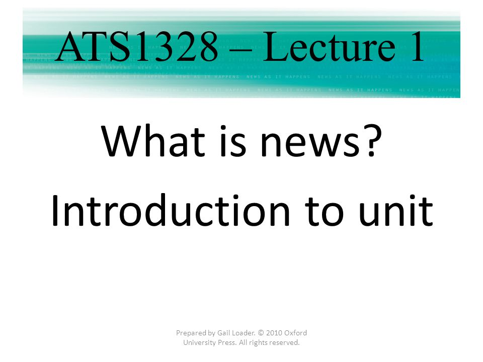 What is news Introduction to unit