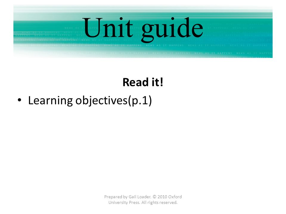 Unit guide Read it! Learning objectives(p.1)