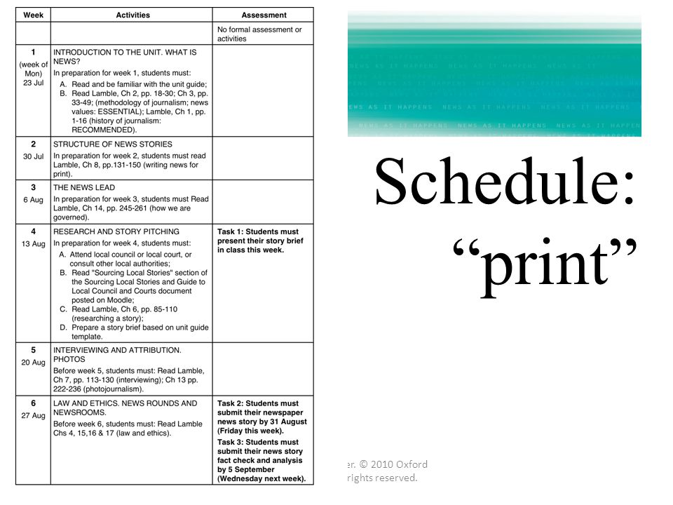 Schedule: print Prepared by Gail Loader. © 2010 Oxford University Press. All rights reserved.