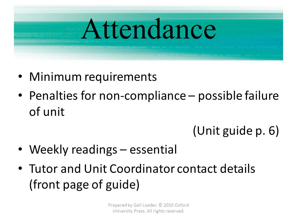 Attendance Minimum requirements
