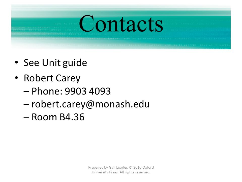 Contacts See Unit guide