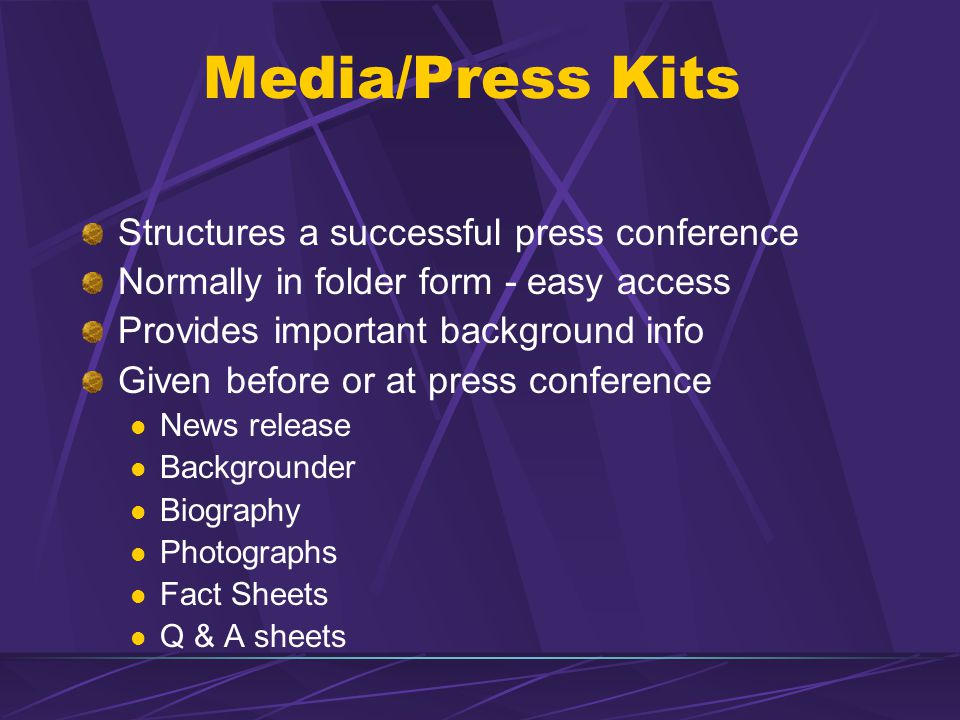 Media/Press Kits Structures a successful press conference