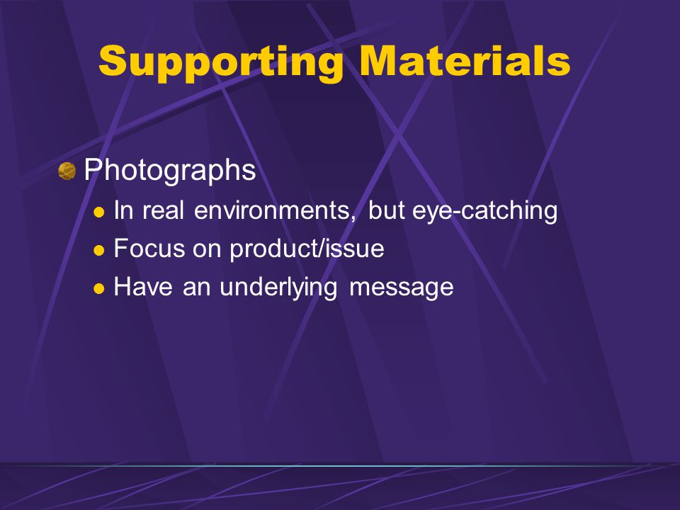 Supporting Materials Photographs