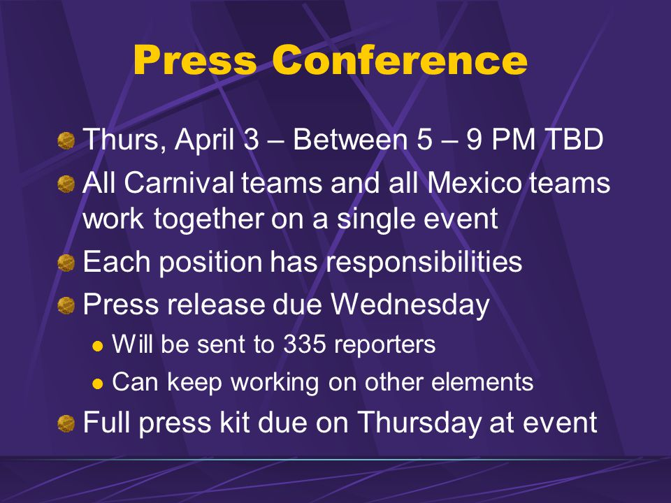 Press Conference Thurs, April 3 – Between 5 – 9 PM TBD