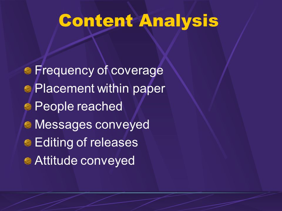 Content Analysis Frequency of coverage Placement within paper