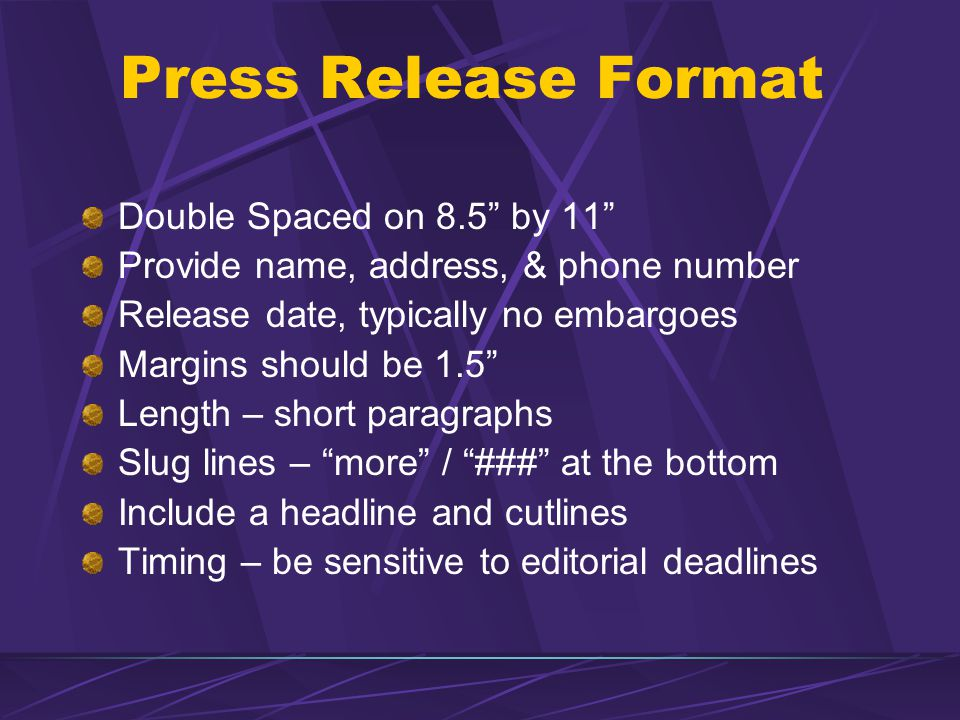 Press Release Format Double Spaced on 8.5 by 11