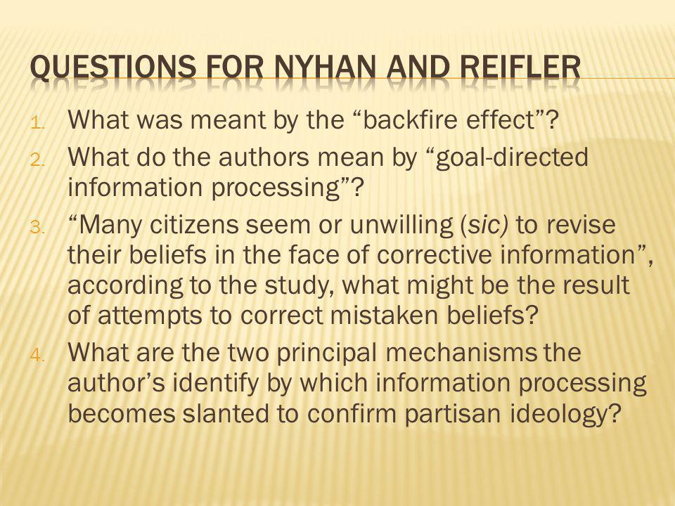 Questions for Nyhan and Reifler