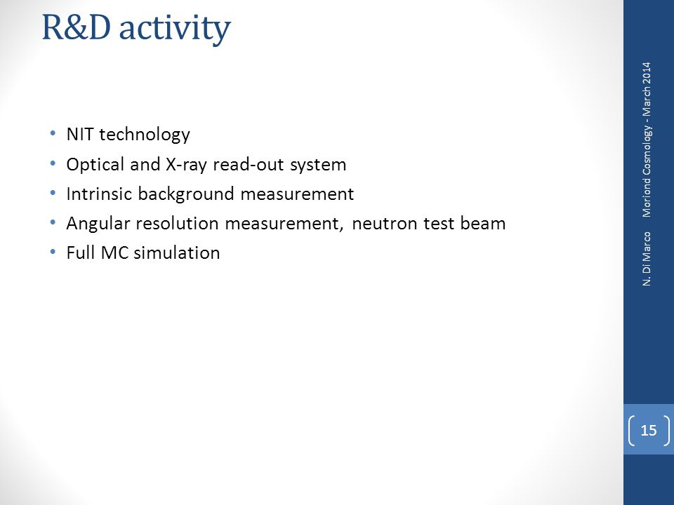 R&D activity NIT technology Optical and X-ray read-out system