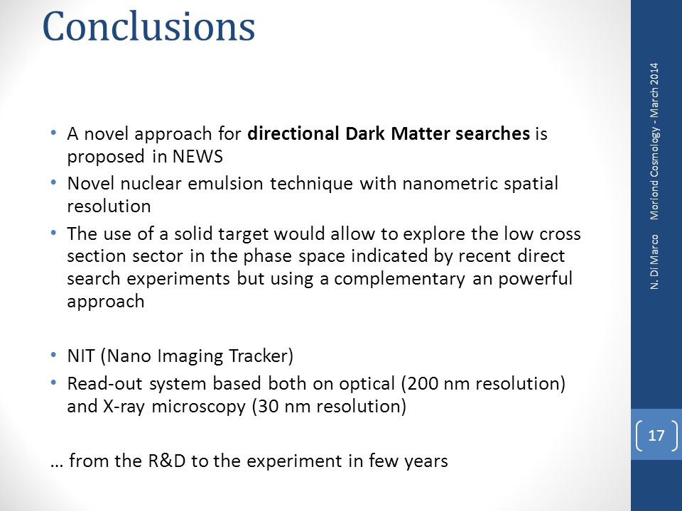 Conclusions A novel approach for directional Dark Matter searches is proposed in NEWS.