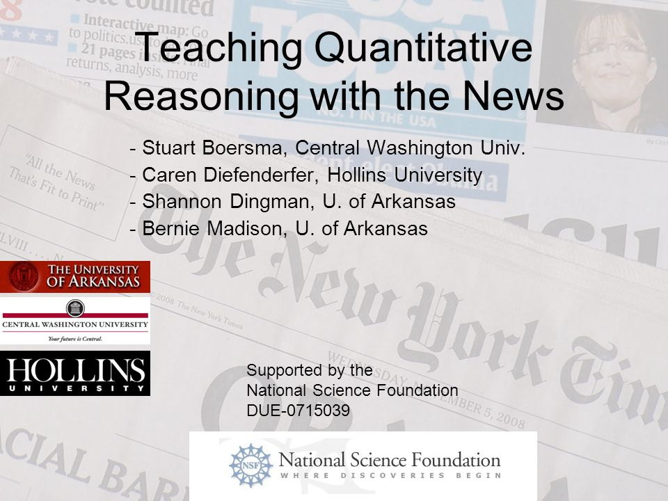 Teaching Quantitative Reasoning with the News