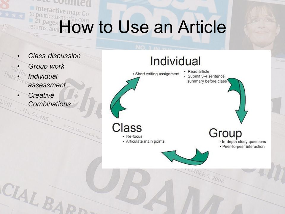 How to Use an Article Class discussion Group work