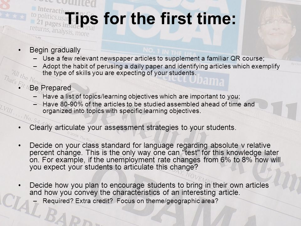 Tips for the first time: