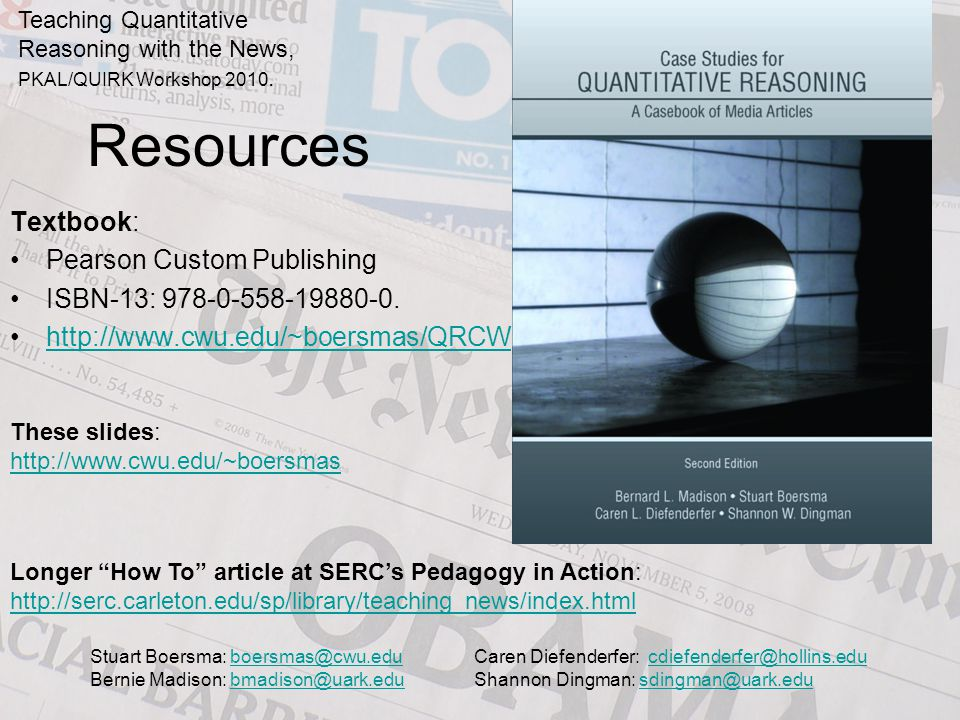 Resources Textbook: Pearson Custom Publishing