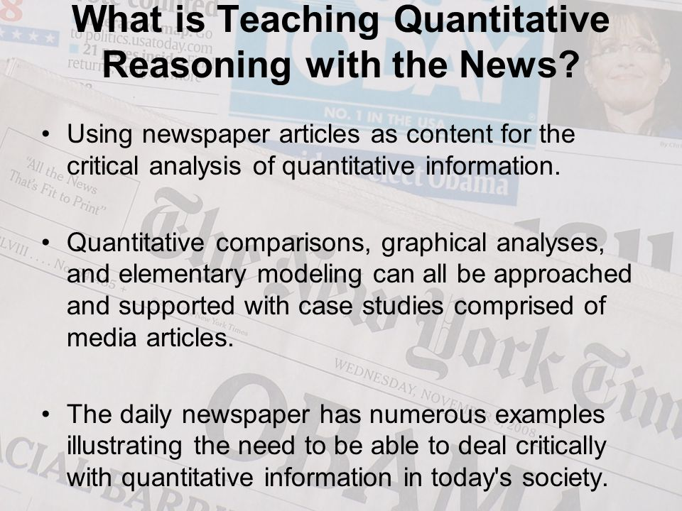 What is Teaching Quantitative Reasoning with the News