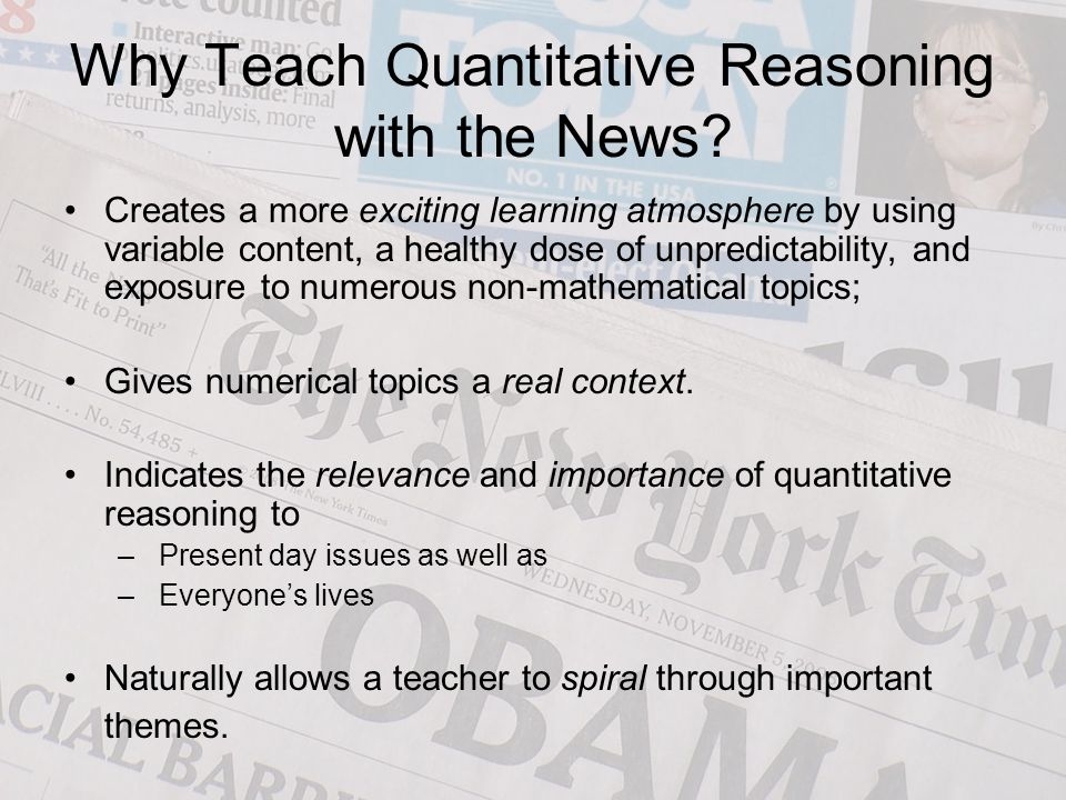 Why Teach Quantitative Reasoning with the News