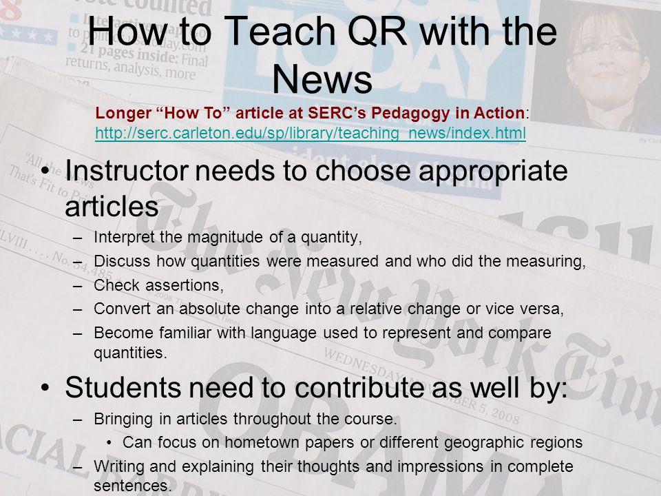 How to Teach QR with the News