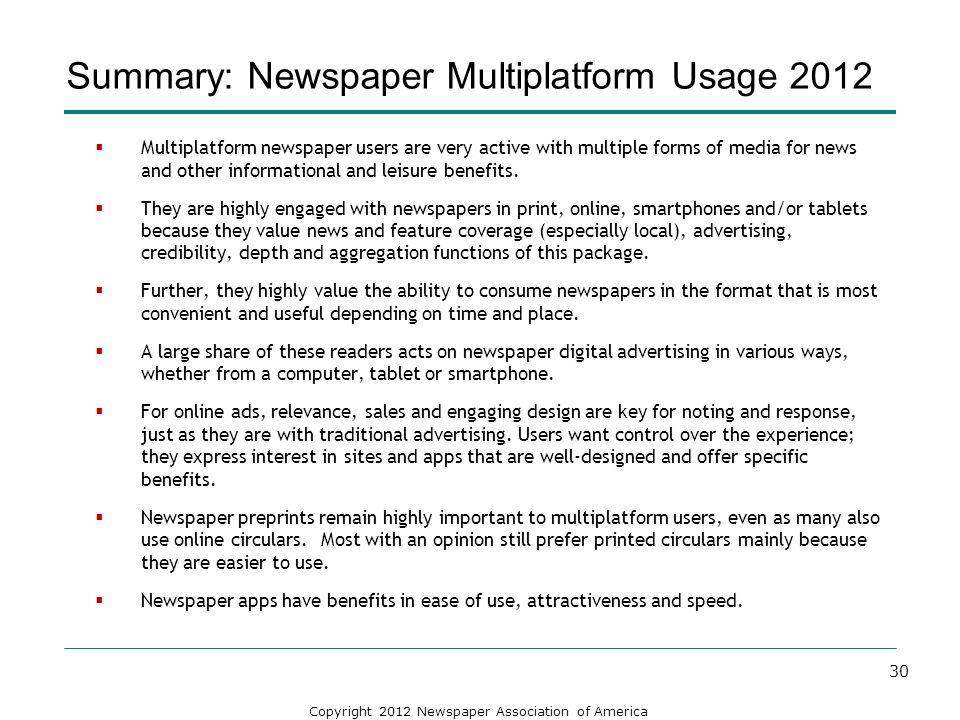 Summary: Newspaper Multiplatform Usage 2012