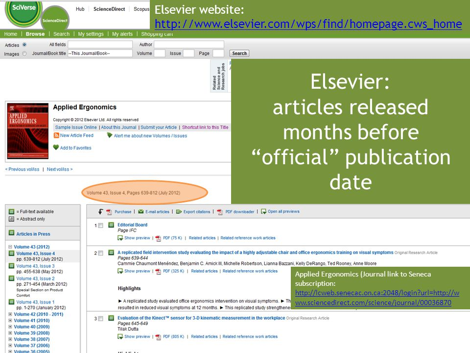 Elsevier: articles released months before official publication date