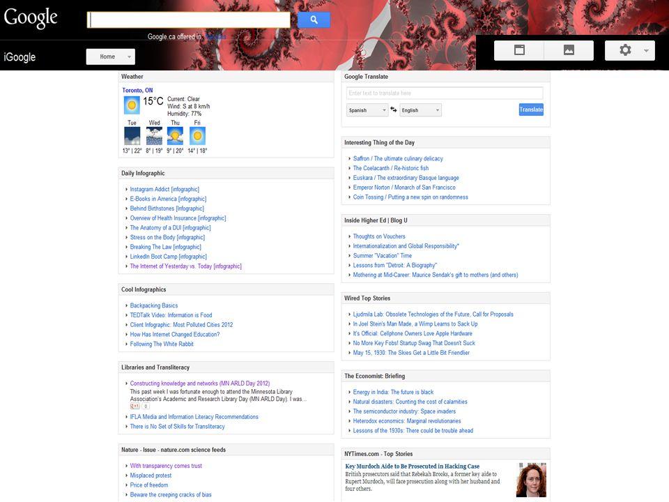 iGoogle Mara: Personal Learning Environments (e.g. iGoogle): LIVE DEMO