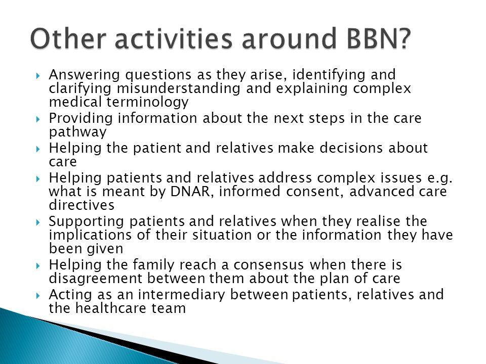 Other activities around BBN