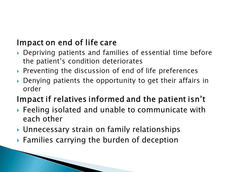 Impact on end of life care
