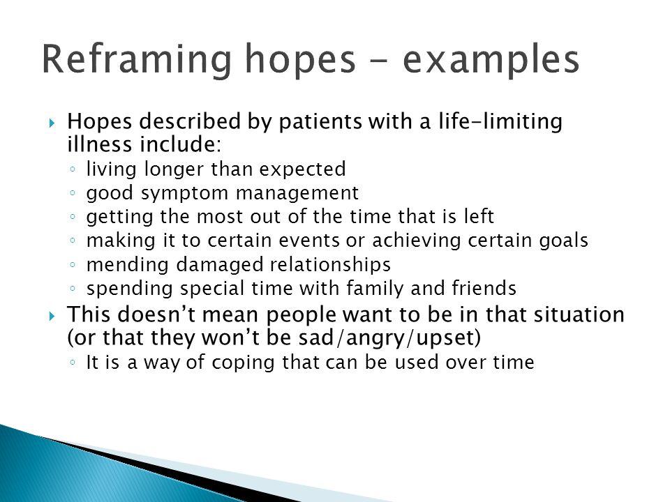 Reframing hopes - examples